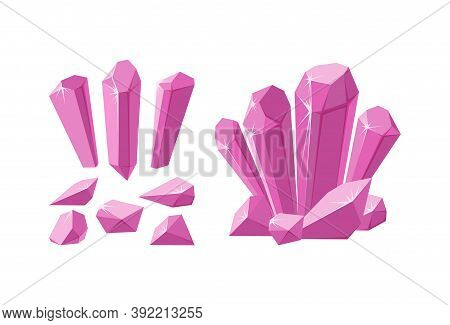 Crystals And Gemstones Of Different Shapes. Set Of Pink Stalagmite, Crystals And Pieces Of Ruby Rock