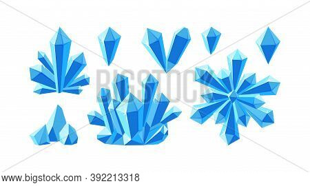 Crystals And Blue Gemstones. Set Of Stalagmite, Snowflake And Ice Crystals. Frozen Gems Of Various S