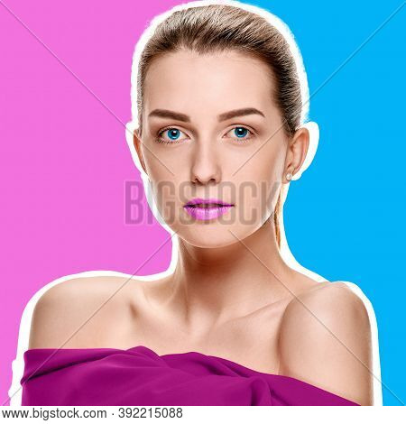 Pretty Young Sensual Woman Posing With Red Shawl On Purple Helio And Blue Background With White Outl