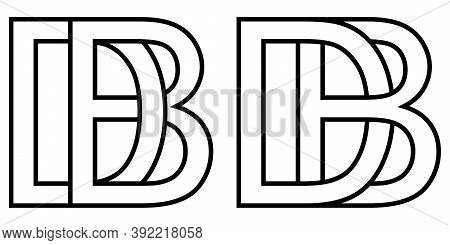 Logo Bd Db Icon Sign Two Interlaced Letters B D, Vector Logo Bd Db First Capital Letters Pattern Alp