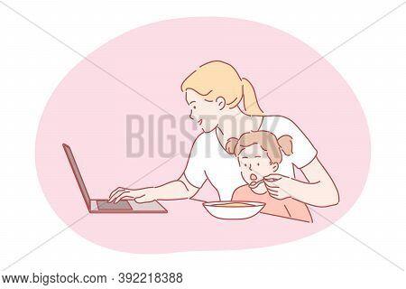 Business, Quarantine, Motherhood, Freelance, Childhood Concept. Busy Businesswoman Freelancer Mum Wo
