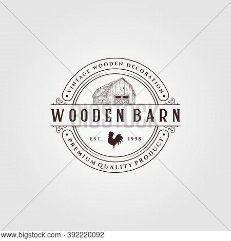 Vintage Farmhouse Logo Vector Illustration Design, Barn Logo Design