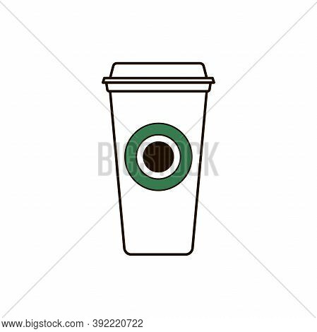 Simple Clipart Coffee To Go. Outline Paper Disposable Cup With Logo Isolated On White Background. Am