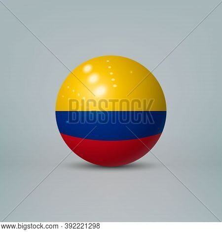 3d Realistic Glossy Plastic Ball Or Sphere With Flag Of Colombia
