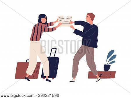 Young Couple Tearing Paper, Quarrel And Argue. Family Divorce And Property Division. Man And Woman F