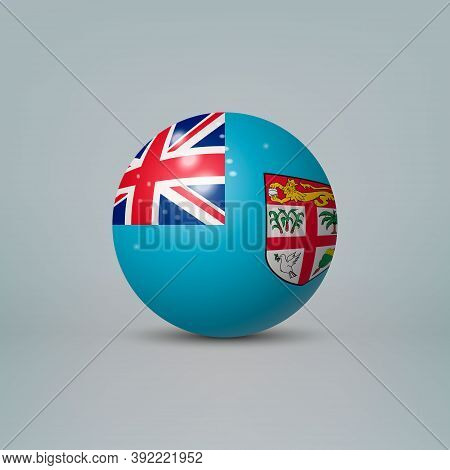 3d Realistic Glossy Plastic Ball Or Sphere With Flag Of Fiji