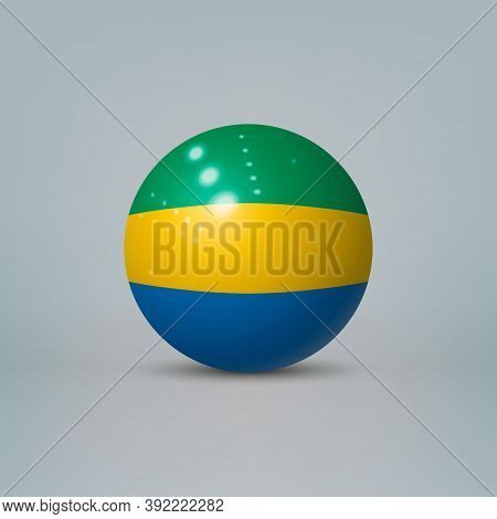 3d Realistic Glossy Plastic Ball Or Sphere With Flag Of Gabon