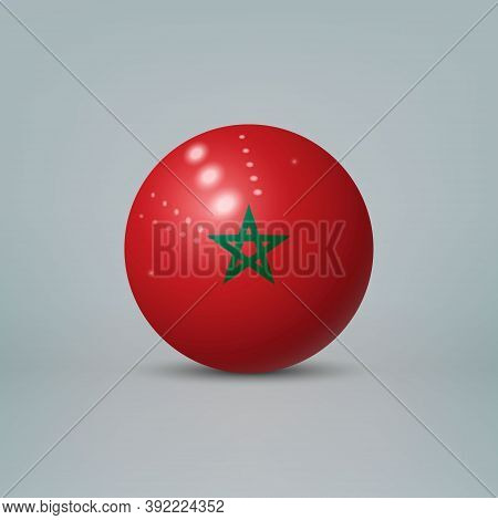 3d Realistic Glossy Plastic Ball Or Sphere With Flag Of Morocco