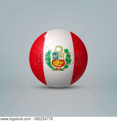 3d Realistic Glossy Plastic Ball Or Sphere With Flag Of Peru
