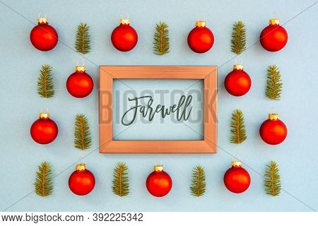 Christmas Texture, Ball, Branch, Frame, Text Farewell