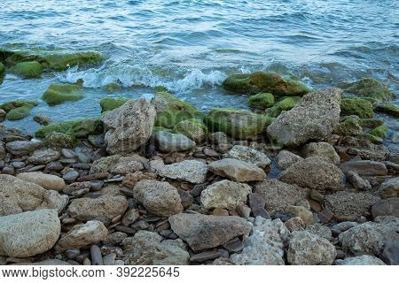 Rocky Seashore. Winter Seashore. Beautiful Seaside. Seascape.