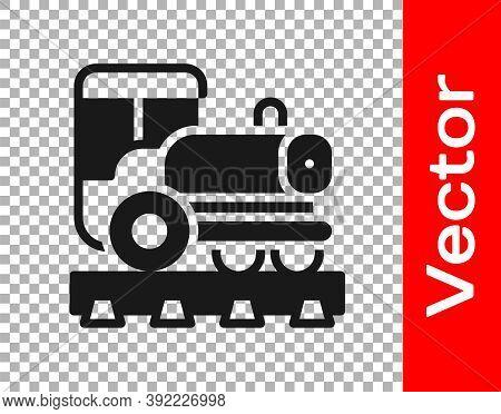 Black Vintage Locomotive Icon Isolated On Transparent Background. Steam Locomotive. Vector