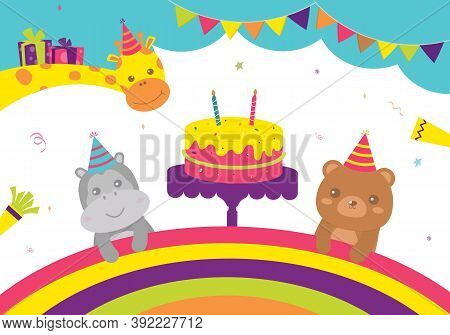Vector Illustration Of Happy Birthday Animal Cake With Candle And Giftbox Decoration For Greetings C