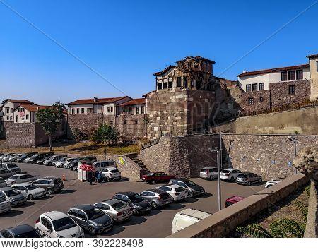 Turkey, Ankara - October 23, 2019: Parking Of Modern Cars In The Background Of The Ancient Ankara Ca