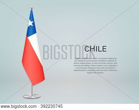 Chile Hanging Flag On Stand. Template Forconference Banner