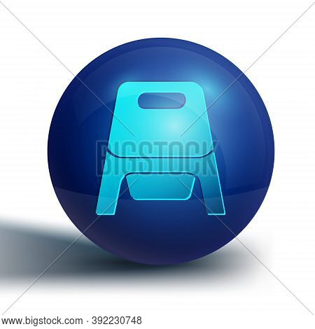 Blue Baby Potty Icon Isolated On White Background. Chamber Pot. Blue Circle Button. Vector