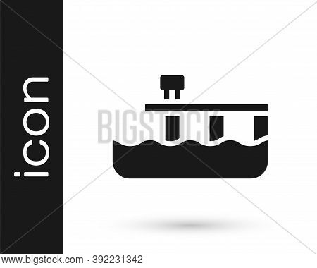Black Beach Pier Dock Icon Isolated On White Background. Vector