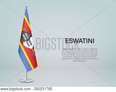 Eswatini Hanging Flag On Stand. Template Forconference Banner