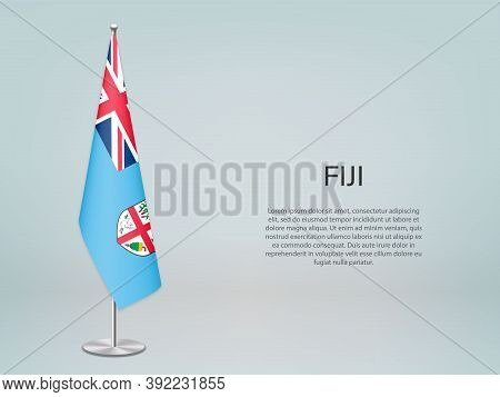 Fiji Hanging Flag On Stand. Template Forconference Banner