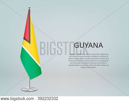 Guyana Hanging Flag On Stand. Template Forconference Banner