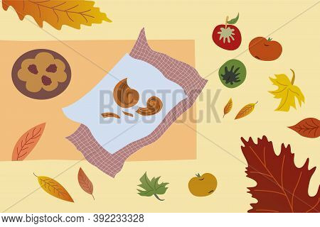 Autumn Time Buns On Plates Blackberry Pie Apples Yellow Red Green Leaves Autumn Cozy Composition
