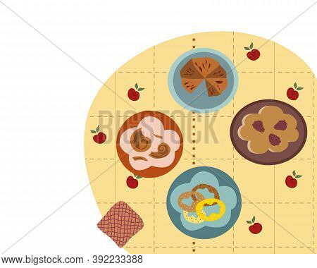 Treats On The Table Chocolate Pie Blackberry Pie Bagels Donuts With Sprinkles On Plates Tablecloth W