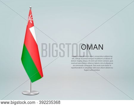 Oman Hanging Flag On Stand. Template Forconference Banner
