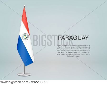 Paraguay Hanging Flag On Stand. Template Forconference Banner