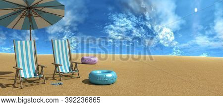 Beach Chairs On The White Sand Beach With Cloudy Blue Sky 3d Rendering