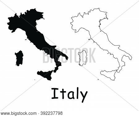 Italy Country Map. Black Silhouette And Outline Isolated On White Background. Eps Vector