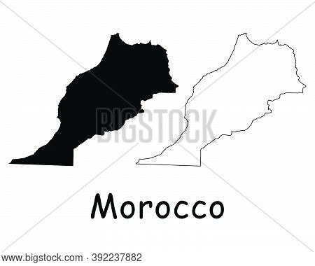 Morocco Country Map. Black Silhouette And Outline Isolated On White Background. Eps Vector