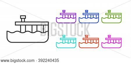 Black Line Beach Pier Dock Icon Isolated On White Background. Set Icons Colorful. Vector