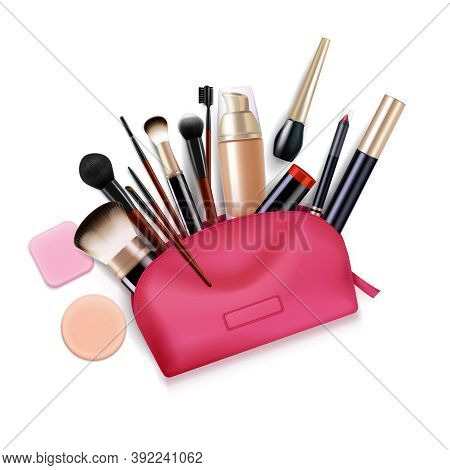 Bag With Cosmetics Realistic Composition With Top View Of Pink Toiletry Case With Applicator Brushes