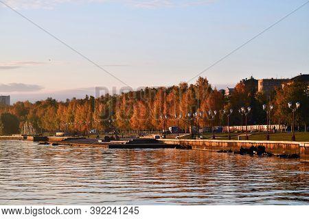 Petrozavodsk, Karelia, Russia - September 30, 2020: View On Petrozavodsk Embankment, The Capital Cit