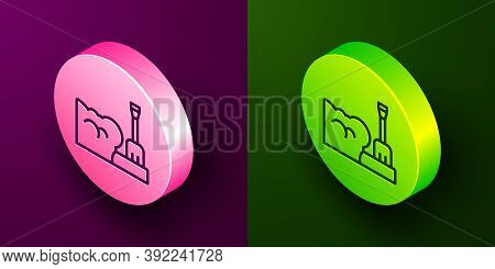 Isometric Line Shovel In Snowdrift Icon Isolated On Purple And Green Background. Circle Button. Vect