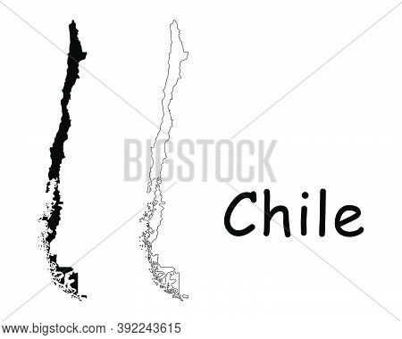 Chile Country Map. Black Silhouette And Outline Isolated On White Background. Eps Vector