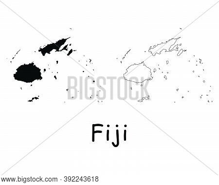 Fiji Country Map. Black Silhouette And Outline Isolated On White Background. Eps Vector