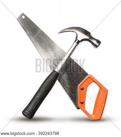 Realistic Diy Mechanic Hand Tools Crossed For Get The Job Done Concept, Isolated On White Background
