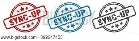 Sync-up Stamp. Sync-up Round Isolated Sign. Sync-up Label Set