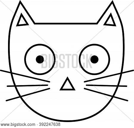 Cat Head Doodle With Whiskers. Vector Illustration