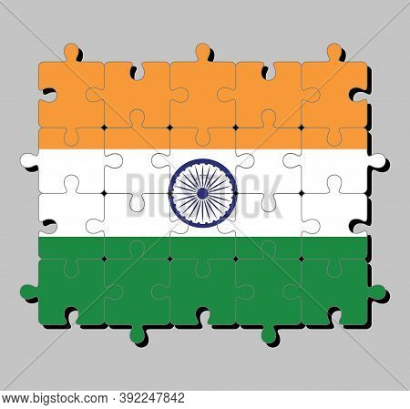 Jigsaw Puzzle Of India Flag In Tricolor Of India Saffron, Orange White And Green With The Ashoka Cha
