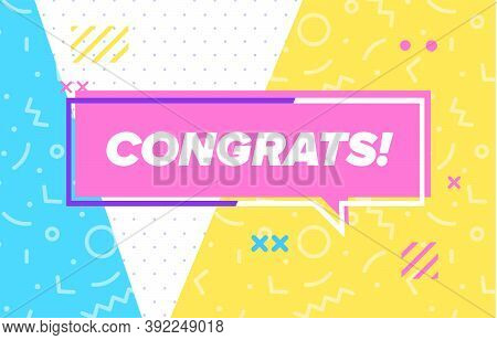 Congrats In Design Banner. Vector Template For Web, Print, Presentation . Simple Banner With Minimal