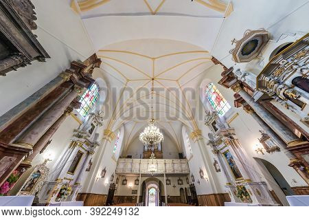 Kremianica, Belarus - May 2019: Interior Dome And Looking Up Into A Old Gothic Or Baroque Catholic C