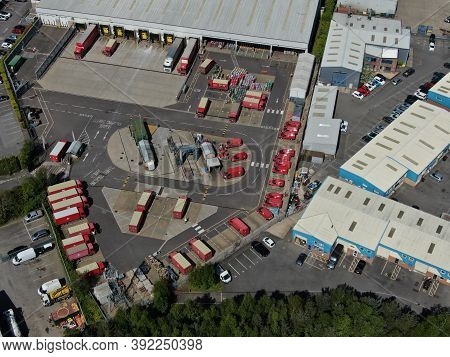 Aerial View Of Royal Mail Sorting Depot With Lorries And Sorting Depot