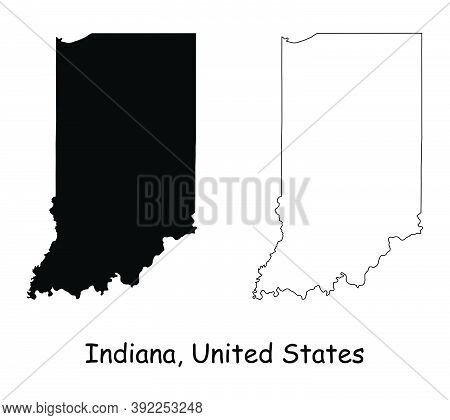 Indiana In State Maps. Black Silhouette And Outline Isolated On A White Background. Eps Vector