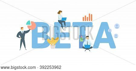 Beta. Concept With Keywords, People And Icons. Flat Vector Illustration. Isolated On White.