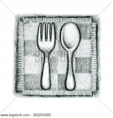 Pencil Drawing. Cute Icon With A Fork And Spoon On A Napkin
