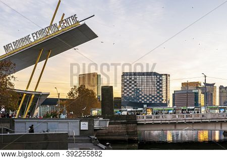 Melbourne, Australia - May 17, 2019: Late Afternoon View Of Melbourne Exhibition Centre Frontage, Ne