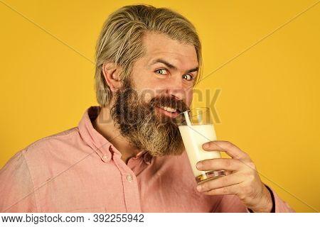 Emotional Bearded Man Hold Glass Of Milk. Vegan Milk Concept. Vegan Milks Made From Wide Variety Of
