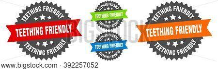 Teething Friendly Sign. Round Ribbon Label Set. Seal